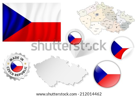 Set of flags, maps etc. of Czech Republic - isolated on white. Vector illustration. - stock vector