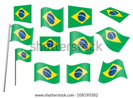 set of flags of Brazil vector illustration - stock vector