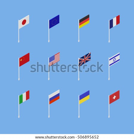 Set of flags of different countries is an isometric 3D.