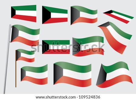 set of flags of Kuwait vector illustration