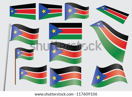 set of flags of South Sudan vector illustration