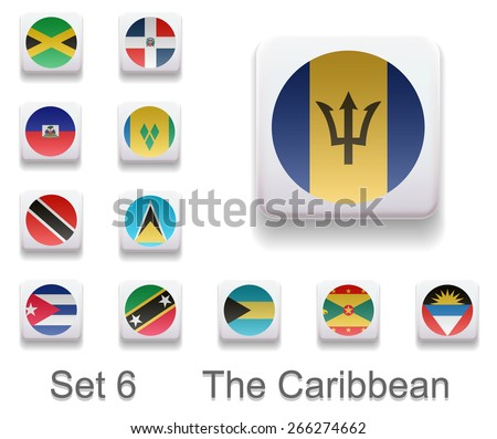 Set of 6. Flags of the Caribbean. Flags in the form of computer button. All elements and textures are individual objects. Each image has a name. Illustration. Vector. Icon. - stock vector