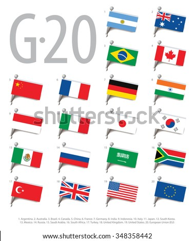 Set of flags of the countries - members of The Group of Twenty (G20). Vector Illustration - stock vector