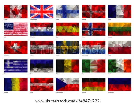 Set of flags of the world - stock vector