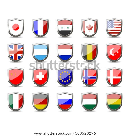 set of flags of the world on shield. protection and defense of character. - stock vector
