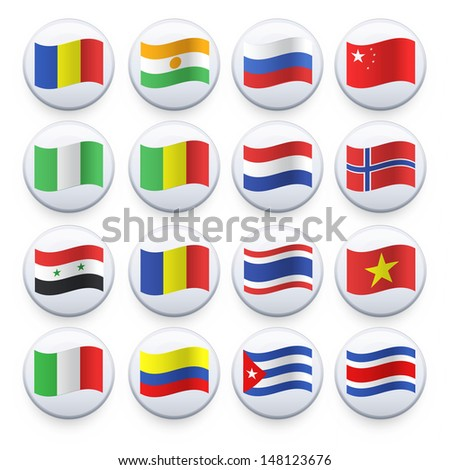 Set of flags printed on white button. Vector design.