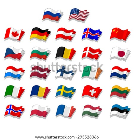 set of flags. Vector.