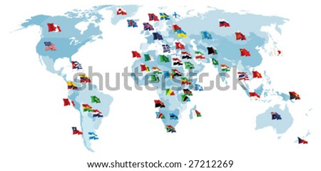 Set of flags. World map. All elements and textures are individual objects. Vector illustration scale to any size. - stock vector