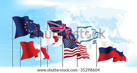 Set of flags. World map. All elements and textures are individual objects. Vector illustration scale to any size.