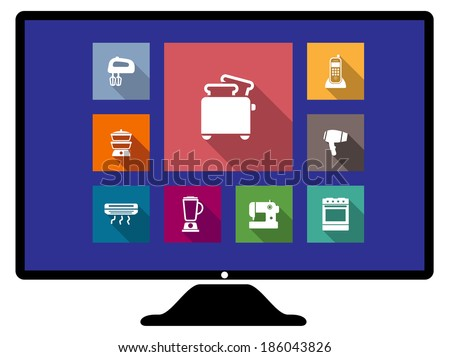 Set of flat appliances icons on a computer monitor with a toaster, hairdryer, telephone, mixer, heater, liquidizer, sewing machine and oven - stock vector