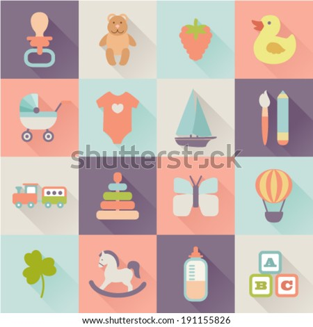 set of flat baby icons - stock vector
