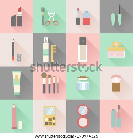 set of flat beauty and makeup icons  - stock vector