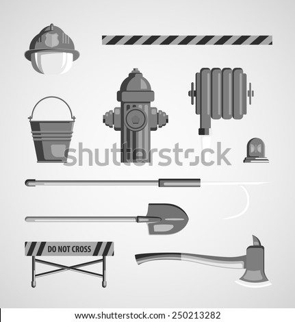 Set of flat black and white monochrome vector icons on light background. Instrument, equipment or volunteer fireman. Fridge magnet, T-shirt printing, set for collage, illustration for children's books - stock vector