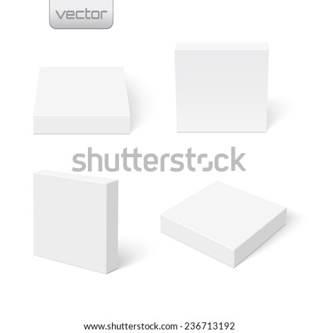 Set of flat blank boxes. Template for your design. Vector illustration - stock vector