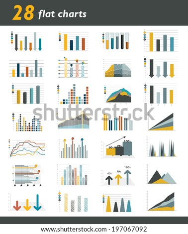 Set of 28 flat charts, diagrams for infographic. Vector.  - stock vector