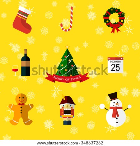 set of flat christmas icons - stock vector - stock vector