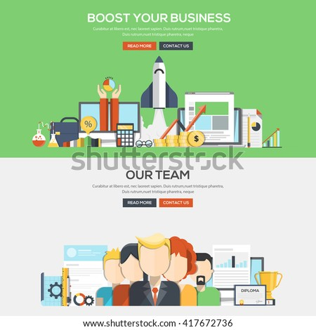 Set of Flat Color Banners Design Concepts for Boost Your Business and Our Team.Vector - stock vector