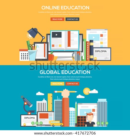 Set of Flat Color Banners Design Concepts for Online and Global Education. Concepts web banner and printed materials.Vector - stock vector