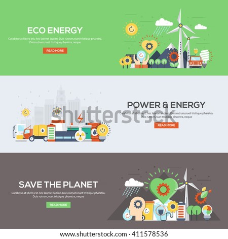 Set of flat color design web banners for Eco Energy, Power and Energy, and Save the Planet. Vector - stock vector