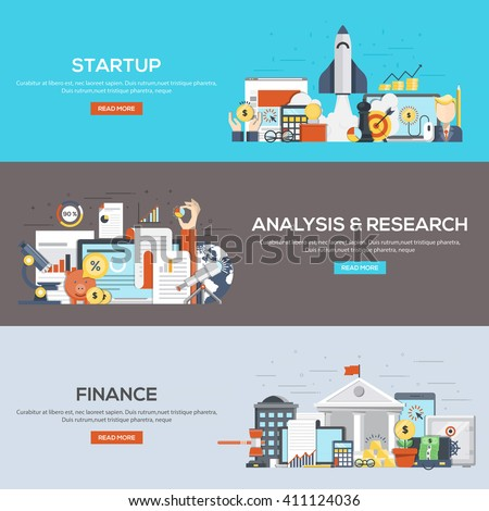 Set of flat color design web banners for Startup, Analysis and Research and Finance. Vector - stock vector