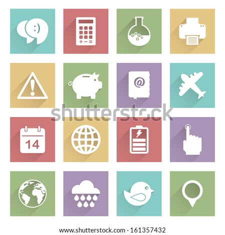 set of flat color icons with long shadows, eps 10 with transparencies, soft series set 3 - stock vector