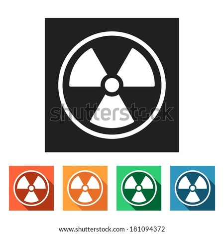 Set of flat colored simple icons (radioactivity, danger, radiation), vector illustration - stock vector