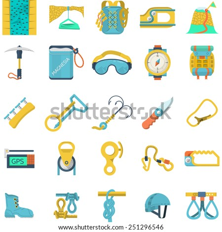 Set of flat colored vector icons for equipment and outfit for rock climbing, alpinism, mountaineering on white background for your site. - stock vector