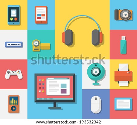 Set of flat colorful electronics icons. Different digital media devices on colored squares. EPS10 vector. - stock vector