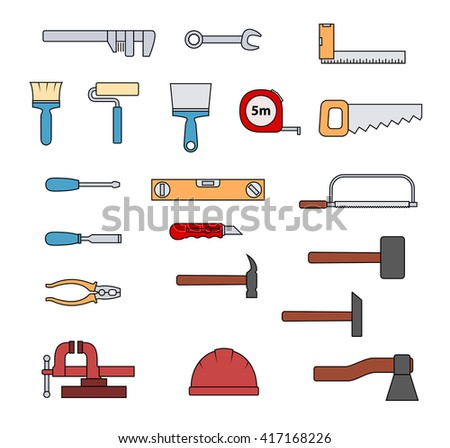 Set of flat colorful repair tool icons. Home repair pictogram. Worker tools. Vector illustration. - stock vector