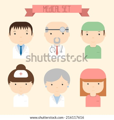 Set of flat colorful vector doctor icons. Medical people.  - stock vector