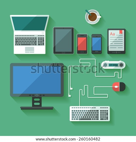 Set of flat computing and mobile devices. Modern laptop, tablets and phones. Vector.  - stock vector