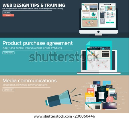 Set of flat concept design for web design learning, product purchase agreement and media communications. Icons and illustrations for web and mobile apps and design interface. - stock vector