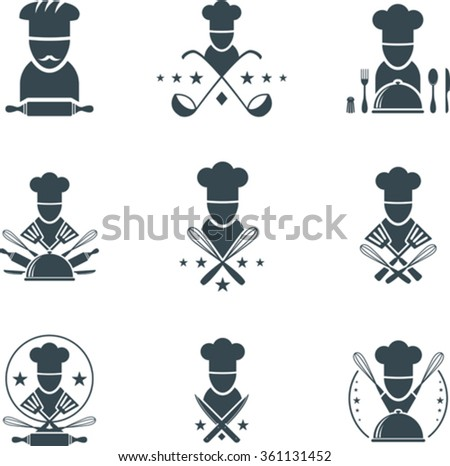 Set of flat cooking icons - stock vector