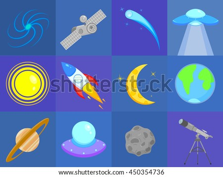 Set of flat cosmic icons. Vector design. Earth, saturn, ufo, telescope, asteroid, moon, rocket, sputnik, blue galaxy, meteorite, sun.