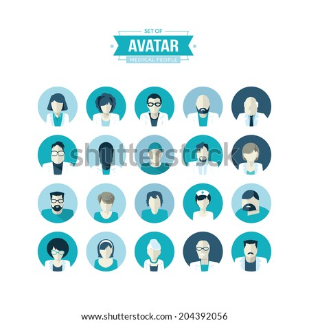 Set of flat design avatar icons for medicine   - stock vector