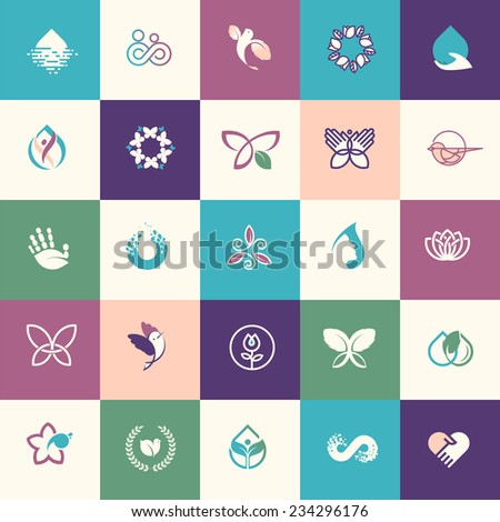 Set of flat design beauty and healthcare icons for websites, print and promotional materials, web and mobile services and apps, for healthcare, spa, cosmetics, wellness, natural product, healthy life. - stock vector