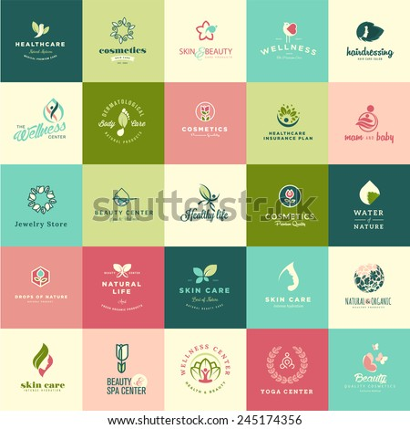 Set of flat design beauty and nature icons for natural products, cosmetics, healthcare, beauty center, spa and wellness - stock vector