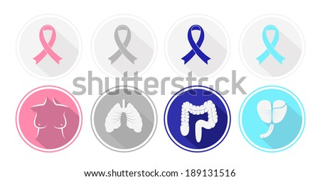 Set of flat design Cancer and human organ icons. Vector - stock vector