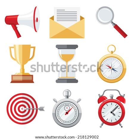 Set of flat design colorful detailed vector icons of objects: megaphone, letter, loupe, champion cup, hourglass, compass, target, stopwatch, alarm clock isolated on white background  - stock vector