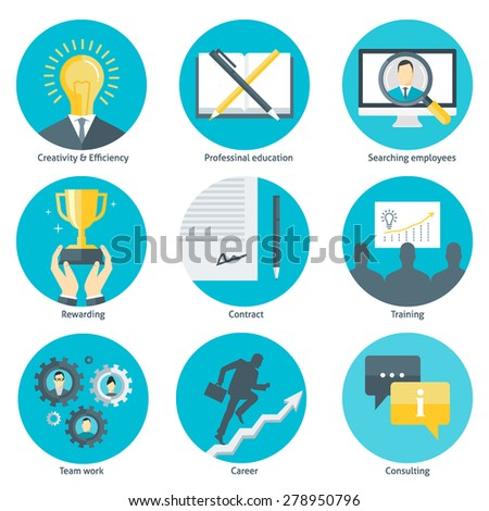 Set of flat design colorful round vector icons for human resource management, recruitment, professional education, training, consulting, career team building isolated on white - stock vector