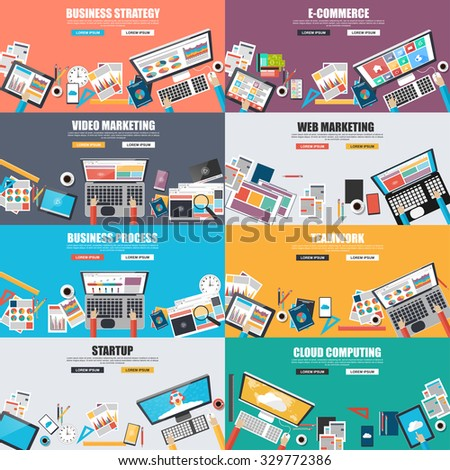 Set of flat design concept for business strategy, video and web marketing, e-commerce, business processes, teamwork, startup and clound computing. Concepts for web banner and printed materials. - stock vector