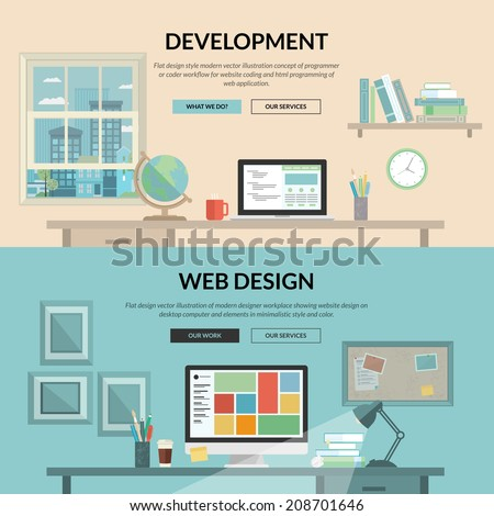 Set of flat design concept for web development. Programmer or coder workflow for website coding and html programming of web application, modern designer workplace showing design on desktop computer. - stock vector