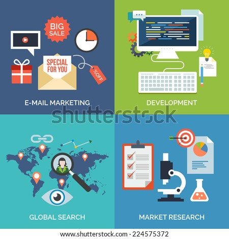 Set of flat design concept icons for business. E-mail marketing, Development, Global search and Market research. Vector Illustration. - stock vector