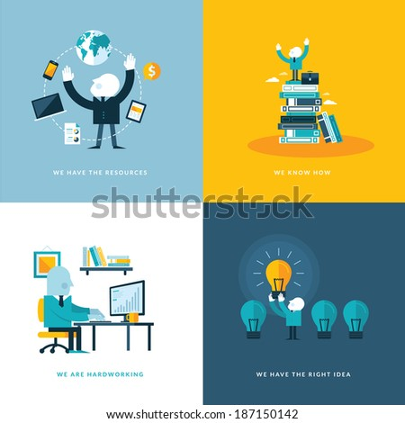 Set of flat design concept icons for business. Icons for company resources, know how, hardworking, and creativity.   - stock vector