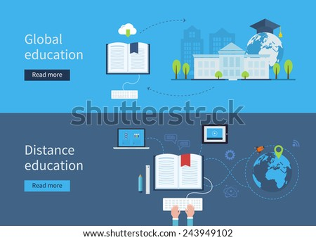 Set of flat design concept icons for distance and global education. Icons for education for all, distance education, training and tutorials - stock vector