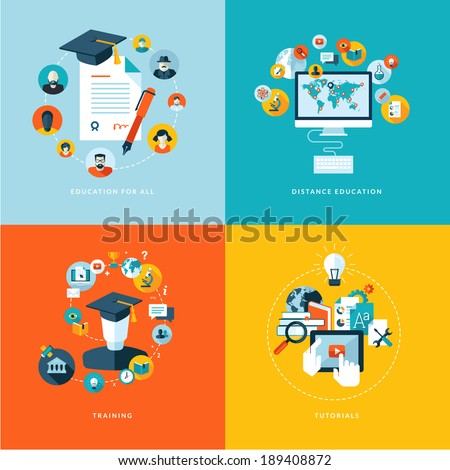 Set of flat design concept icons for education. Icons for education for all, distance education, training and tutorials - stock vector