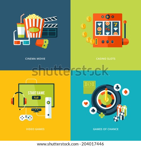 Set of flat design concept icons for entertainment kinds. Icons for cinema movie, casino slots gaming, video games, games of chance.  - stock vector