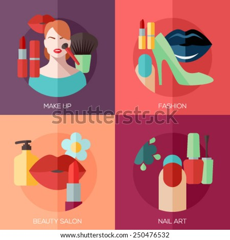 Set of flat design concept icons for make up, fashion, beauty salon, nail art. Concepts for web and mobile phone services and apps. - stock vector