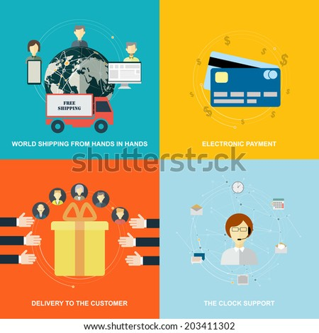 Set of flat design concept icons for Marketing Shopping  - stock vector