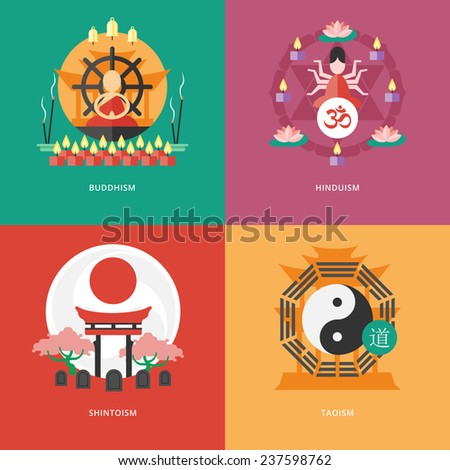 Set of flat design concept icons for religions and confessions. Icons for buddhism, hinduism, shintoism, taoism. - stock vector